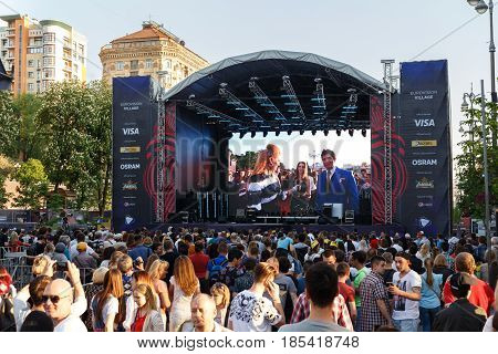 The grand opening of Eurovision in Ukraine.Eurovision Village. Photo from the fan zone on Khreshchatyk. Broadcast the event on the big screen. May 7 2017