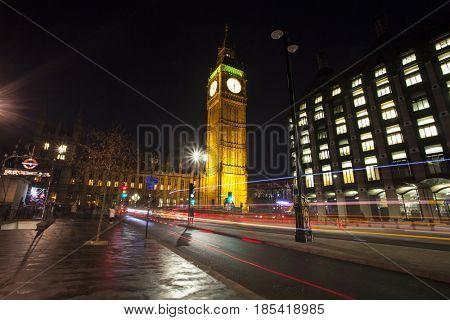 London, UK - 24 January 2017: Night shot of Big Ben at rush hour, London, United Kingdom