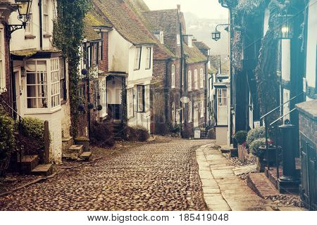 January 27, 2017 Rye, East Sussex, England: A beautiful cobbled street in the historic town of Rye in East Sussex