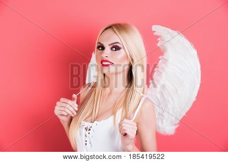 Beauty And Fashion, Cupid On Valentines Day, Makeup And Hairstyle