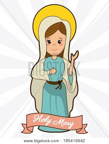 holy mary devotion spirituality faith image vector illustration