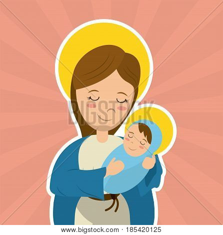 virgin mary holding baby jesus catholicism saint symbol image vector illustration