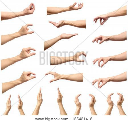 Set Of Man Hands Measuring Invisible Items