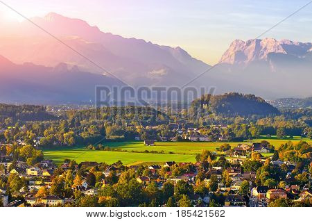 Beautiful View Of Salzburg With Festung Hohensalzburg At Sunset,