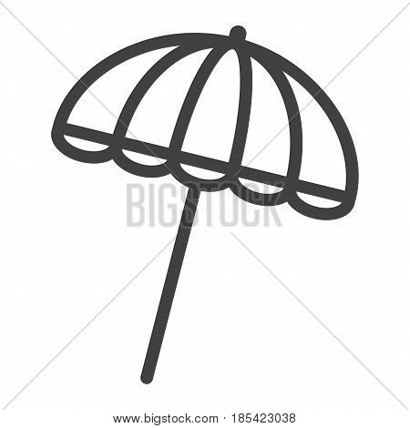 Sun umbrella line icon, travel and tourism, parasol, a linear pattern on a white background, eps 10.