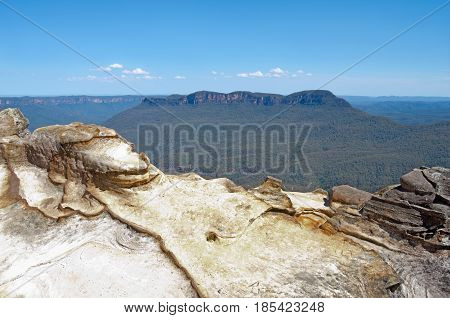 mount solitary and jamison valley in blue mountains outside katoomba new south wales australia