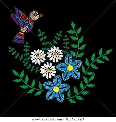 Colorful flower with leaf and bird embroidery stitches imitation. Floral pattern with bird for neck line on black background. Embroidery vector.