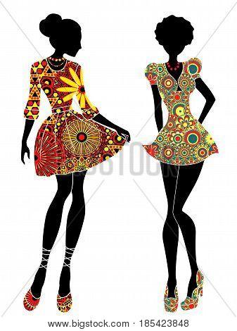 Slim Stylish Girls In Short Ornate Colourful Dresses