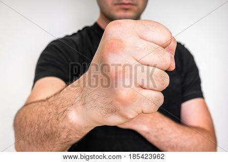 Kung Fu Fighter With Strong Hands And Clenched Fists
