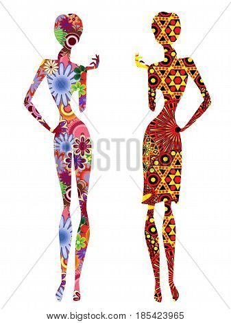 Two Stylized Slender Ethnic Women