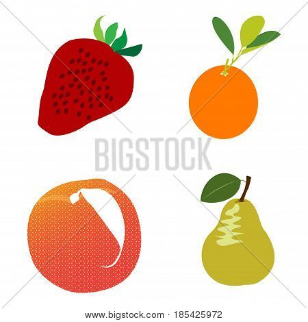 Set of different fruits on a white background, Vector illustration