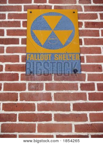 Old Nuclear Fallout Shelter Sign On Brick