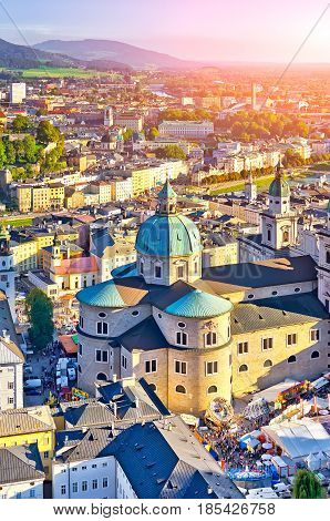 Aerial View Of The Historic City Of Salzburg At Sunset, Salzburg