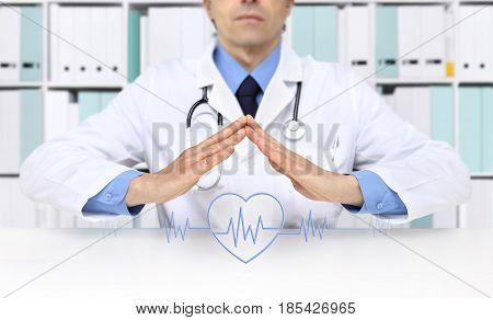 hands doctor with heart beat icon at desk office
