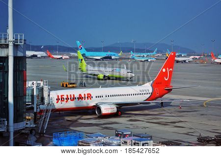 SEOUL, SOUTH KOREA - APRIL 9, 2017 - Korean low-cost airline Jeju Air at Incheon International Airport (ICN), the largest airport in South Korea.