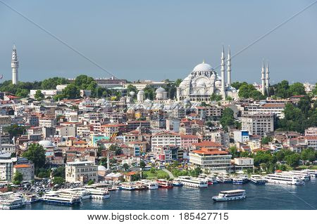 ISTANBUL TURKEY - JUNE 25 2015: Panoramic view of european part of Istanbul from Galata tower Turkey