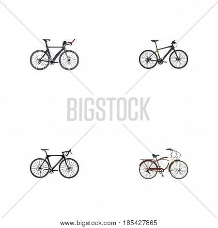 Realistic Exercise Riding, Journey Bike, Hybrid Velocipede And Other Vector Elements. Set Of Bike Realistic Symbols Also Includes Road, Hybrid, Training Objects.