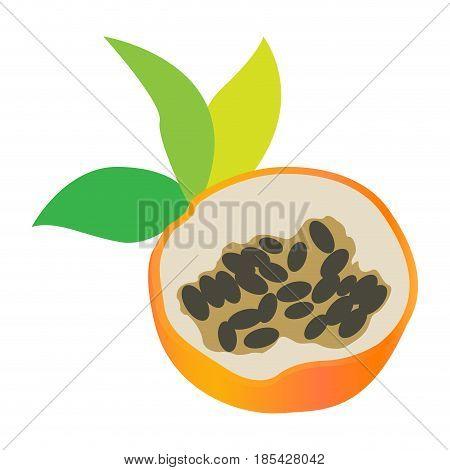 Isolated cut of a sweet granadilla, Vector illustration