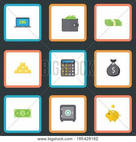 Flat Finance Sack, Cash Stack, Money And Other Vector Elements. Set Of Commerce Flat Symbols Also Includes Purse, Dollar, Sack Objects.