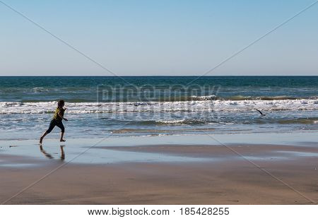 Young Girl Running on the Beach After Seagull