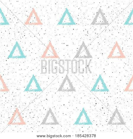 Doodle Triangle Seamless Background. Grey, Blue And Pink Triangle.