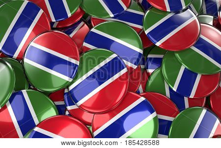 Gambia Badges Background - Pile Of Gambian Flag Buttons.