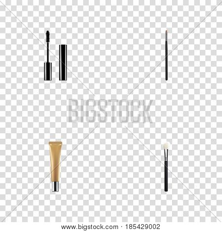 Realistic Contour Style Kit, Collagen Tube, Eyelashes Ink And Other Vector Elements. Set Of Cosmetics Realistic Symbols Also Includes Eyelashes, Collagen, Blush Objects.