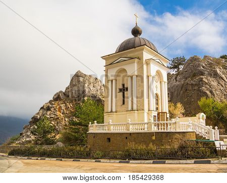 Church-chapel of Nativity of Christ on rock in mountains on Laspinsky pass in Crimea