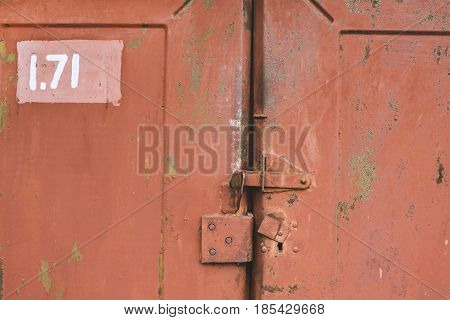 The Old Door Locked On Shutter. Set Of Backgrounds
