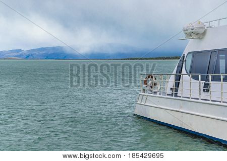 Empty touristic boat parked at viedma lake Patagonia Argentina