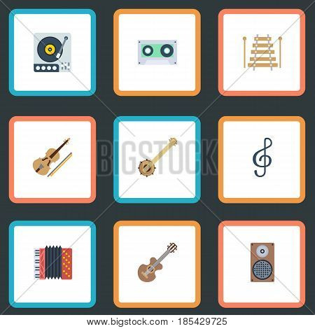 Flat Harmonica, Musical Instrument, Audio Box And Other Vector Elements. Set Of Melody Flat Symbols Also Includes Tape, Box, Instrument Objects.