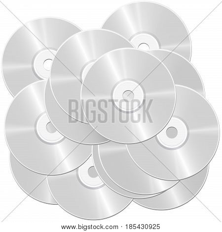 CD pile - heap of compact discs or digital versatile discs - symbolic for large bulk and mass of data and information - isolated vector illustration on white background.