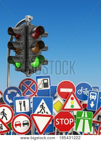 Traffic signs with traffic lights on the sky background. 3d illustration
