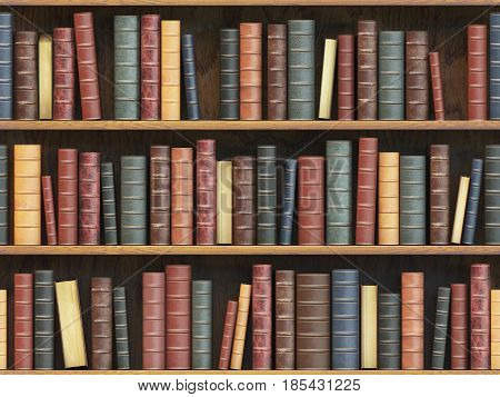 Vintage books on bookshelf. Old books tiled seamless texture background (vertically and horizontally). 3d illustration