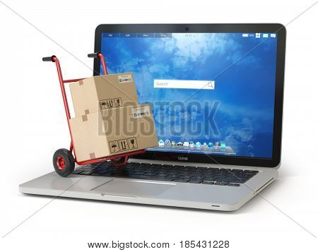 E-commerce, online shopping and delivery concept. Hand truck and cardboard boxes on PC laptop keyboard. 3d illustration