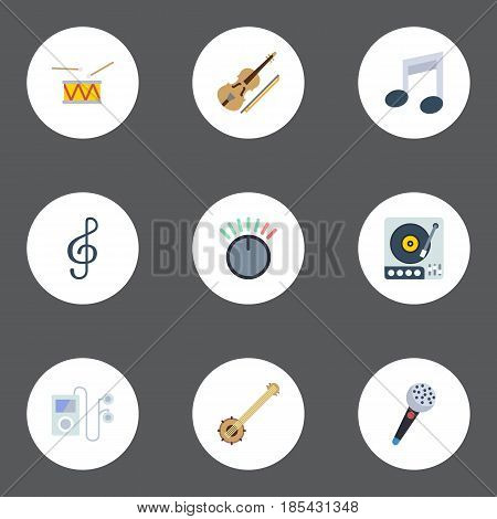 Flat Knob, Tone Symbol, Quaver And Other Vector Elements. Set Of Audio Flat Symbols Also Includes Tambourine, Orchestra, Knob Objects.