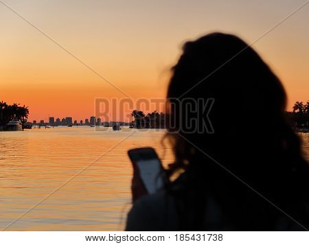 Watching the sunset over Miami skyline from Key Biscayne