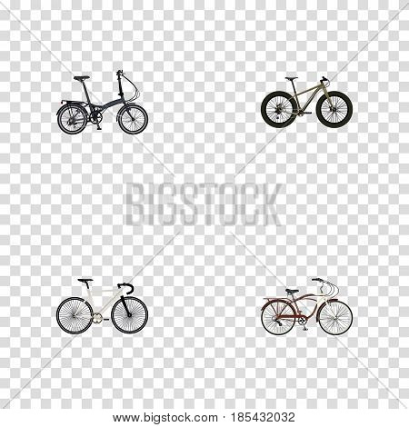 Realistic Folding Sport-Cycle, Bmx, Road Velocity And Other Vector Elements. Set Of Lifestyle Realistic Symbols Also Includes Cruise, Folding, Track Objects.