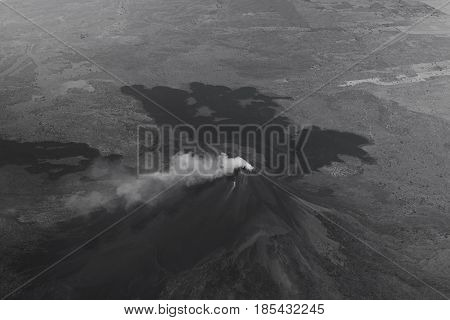 Aerial View On Smoking Volcano