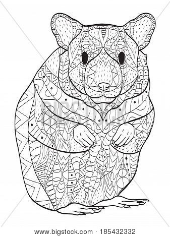 Rodent coloring book vector illustration. Anti-stress coloring for adult hamster. Zentangle style. Black and white lines. Lace pattern