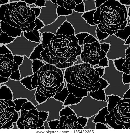 Seamless mozaic floral pattern with black roses and leaves