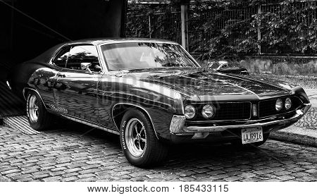 BERLIN - MAY 11: Ford Torino Cobra (black and white) 26. Oldtimer-Tage Berlin-Brandenburg May 11 2013 Berlin Germany
