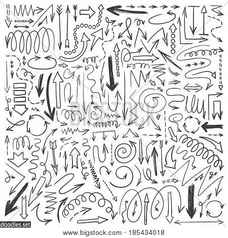 Arrows doodle vector. Set of simple arrow sketches. Business scribble collection. Up down left right drawn elements. Pencil effect sketch isolated on white background.