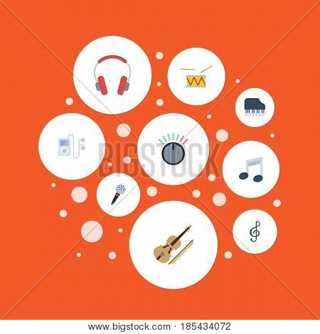 Flat Tone Symbol, Mp3 Player, Quaver And Other Vector Elements. Set Of Studio Flat Symbols Also Includes Clef, Note, Musical Objects.