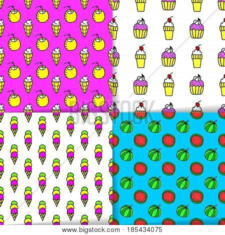 Bright Summer Seamless Patterns, Neon Colors