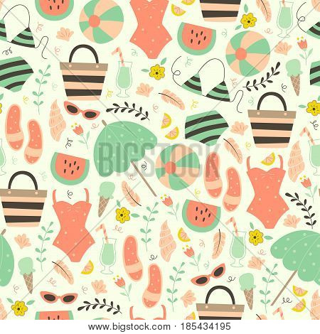 Hand Drawn Vacation Seamless Pattern.  Beach Pattern with Flip-flops, sunglasses, cocktail, Swimwear and Other.