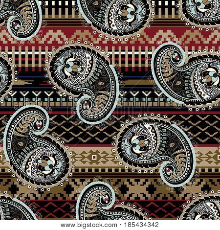 Indian motive. Ethnic ornamental wallpaper. Big decorative flowers. Colorful ethnic backdrop