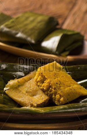 Abara African food on banana leaf. Traditional in Brazilian cuisine.