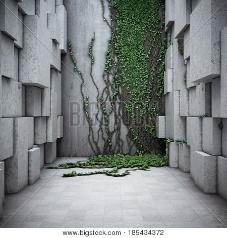 Architectural modern space. Concrete and vertical gardens. 3D illustration.