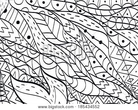 background flower coloring book for adults vector illustration. Anti-stress coloring for adult. Zentangle style. Black and white lines. Lace pattern